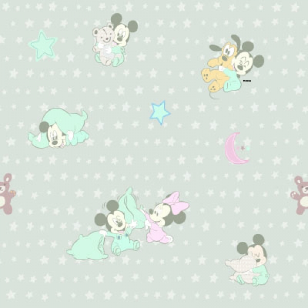 Disney, Mickey Mouse, Minnie Mouse Stof Grijs