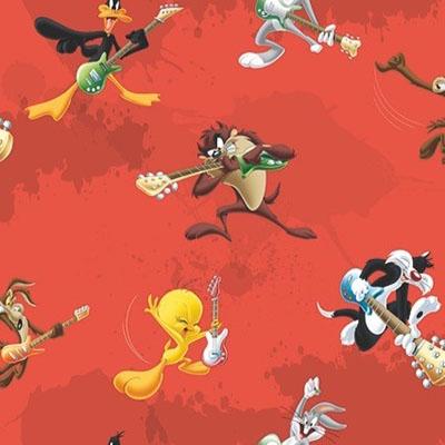 Looney Tunes Stof Rood
